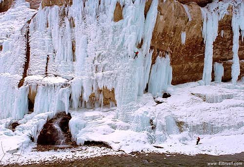 Ice-climbing in Chegem waterfalls in Central Caucasus
