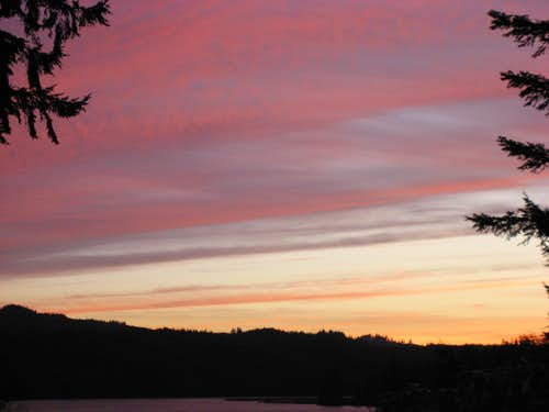 Sunset over Yaquina river