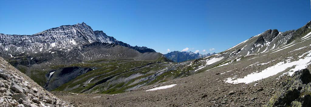Col de la Seigne <i>2514m</i> at the head of val Veny,  along the Mont Blanc Tour