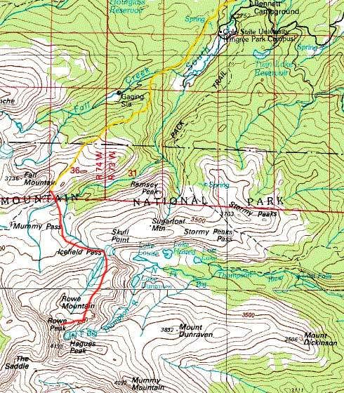 Map of Mummy Pass - Icefield...