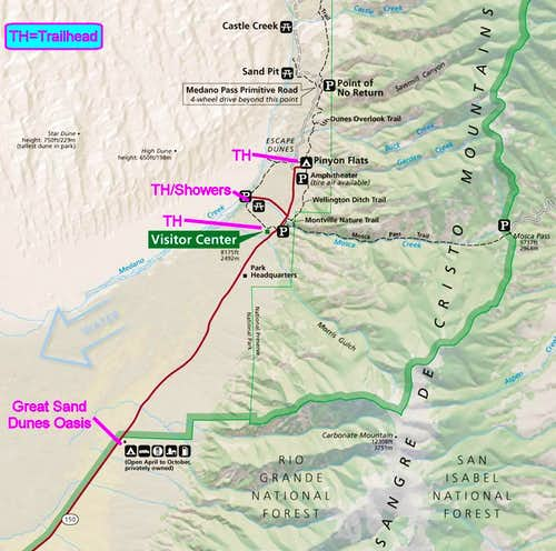 Great Sand Dunes National Park and Preserve NPS Map (Annotated Extract)