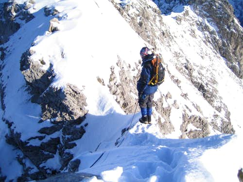Winter ascent: Sharp  ridge