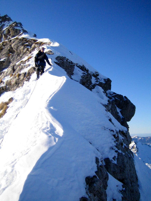Winter ascent: Sharp ridge of Via ferrata Hindelang