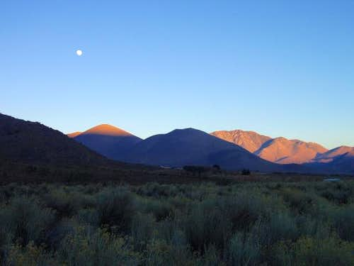 The Moon rises over the Scodie Mountains