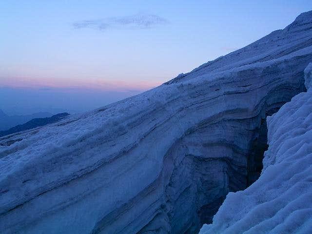 Dawn on Lys glacier,...