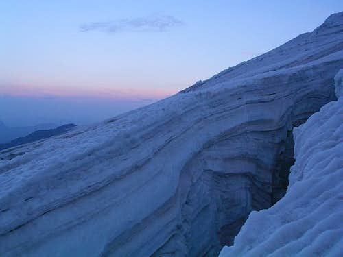 Dawn on Lys glacier,...