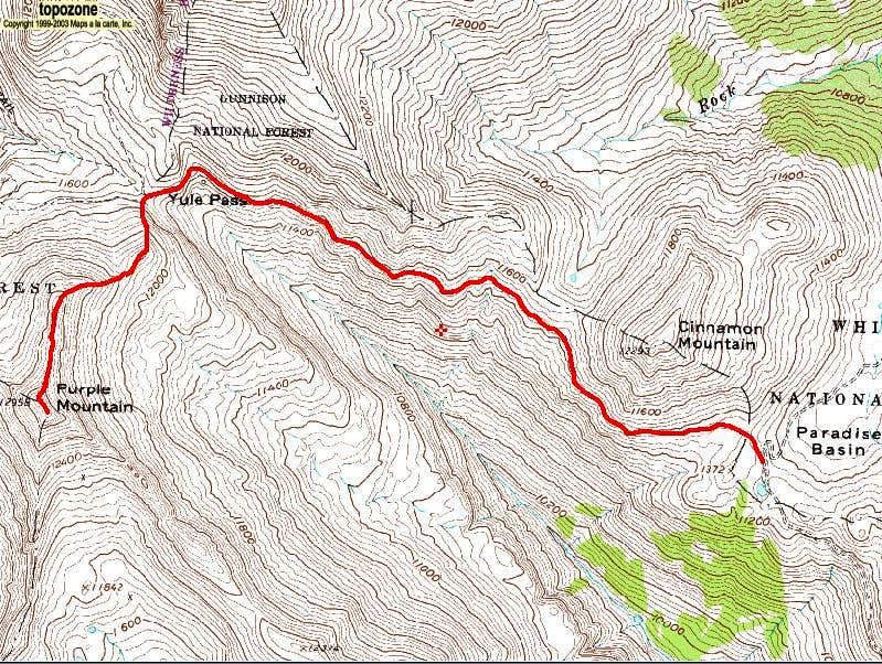 Purple Mountain's North Ridge Route