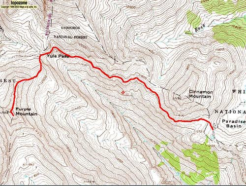 Purple Mountain\'s North Ridge Route