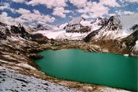 The beautiful high altitude Ala Col lake in the Terskey Alatau.