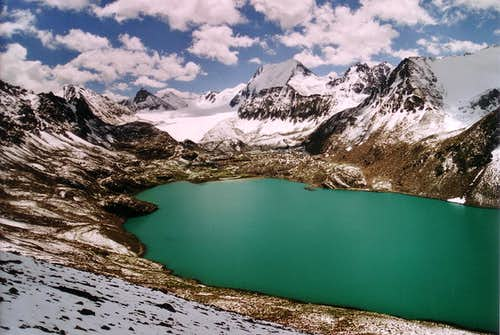 The beautiful high altitude Ala Col lake in the Terskey Alatau.