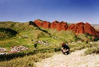 The Red cliffs of the Jeti Öghüz valley in the Terskey Alatau