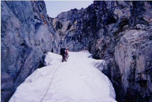 Climbing in the Snow Chute....