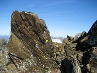 Rock fins on ridgeline,