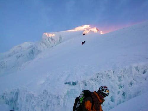Climbing up summit ridge...
