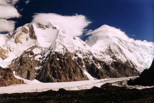 South faces of Khan Tengri and Chayaeva from base camp