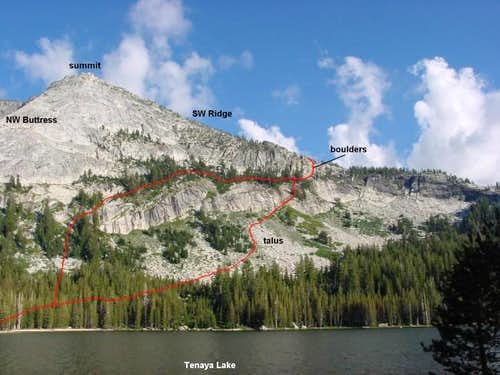 The West Face route viewed...