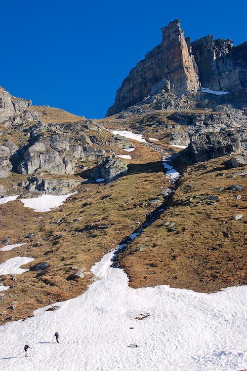 Debris cannel from Pian d'Erboi to Ritterpass (Passo Boccareccio)