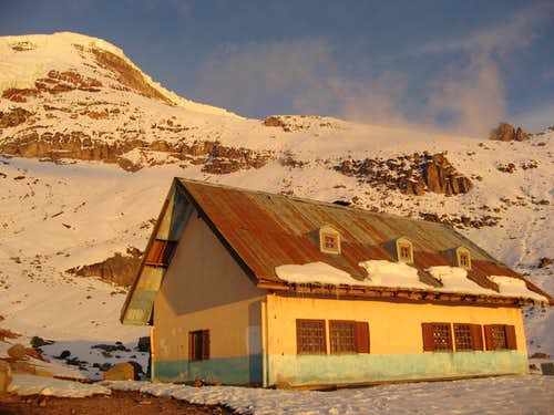 Whymper Hut at sunset