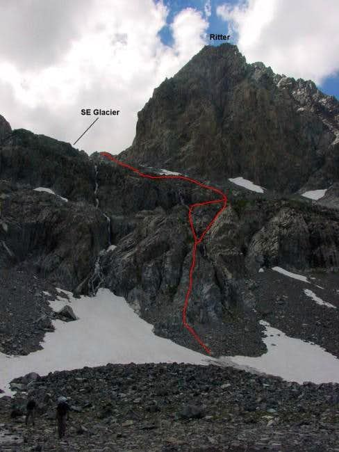 Climbing the lower cliffs as...