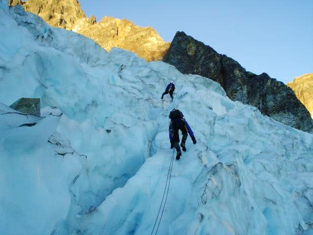 gaining the glacier