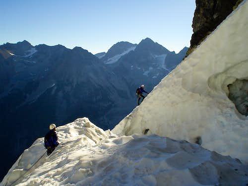 crossing the bergshrund