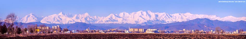 Central Caucasus morning view from Nalchik city.