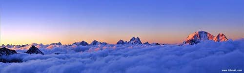 Morning view to Central Caucasus, seen from Elbrus...