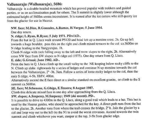 Vallunaraju - Routes: Text...