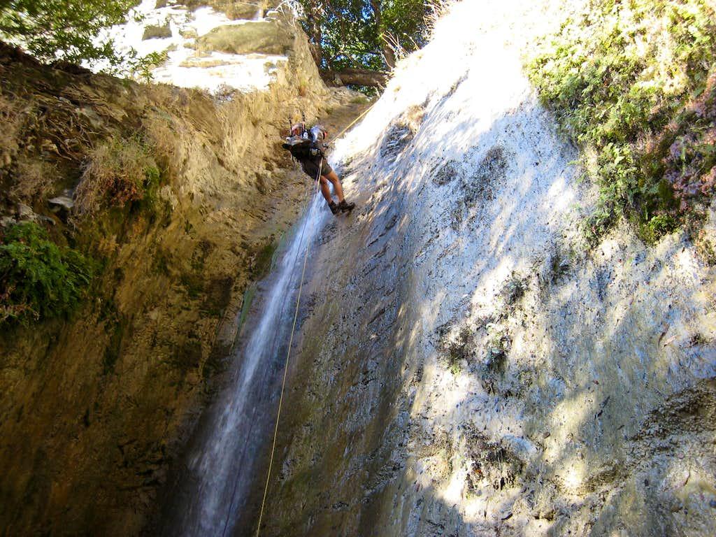 Rappelling in Allison Gulch, San Gabriel Mountains