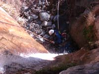 Augie Rappeling in Allison gulch