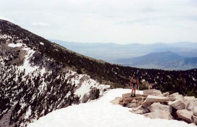 Shirley hiking the ridge from...