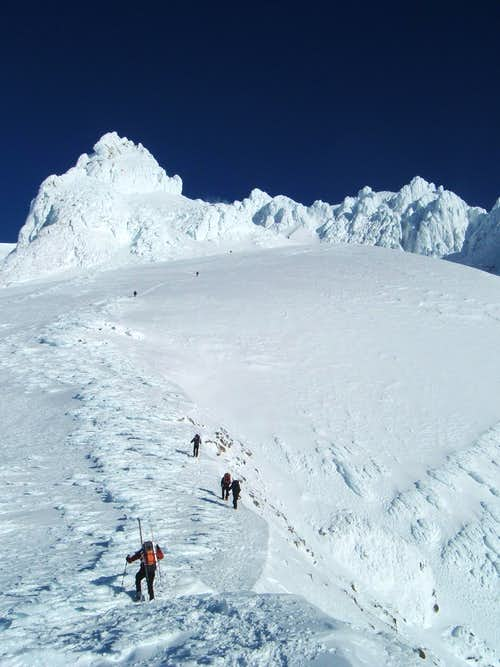 Climbing up the south face of Mt. Hood