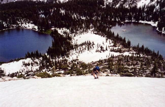 Shirley climbing the snow...