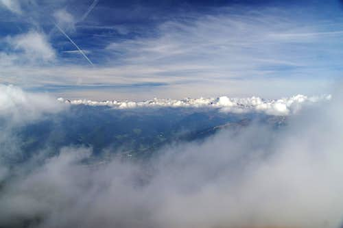 Stubai Alps through the clouds