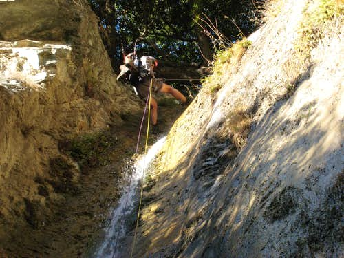 Starting Rappel Down Waterfall in Allison Gulch, San Gabriel Mountains