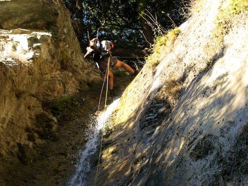 Starting Rappel Down Waterfall in Allison Gulch, San Gabriel Mountains