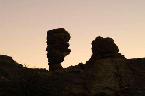 Shadowscape with the most famous rock of the Roques de Garcia: Rooque Chinchado