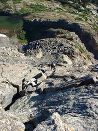 Looking down the Inwwod Arete...