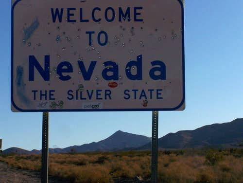 Nevada State Sign and Crescent Peak