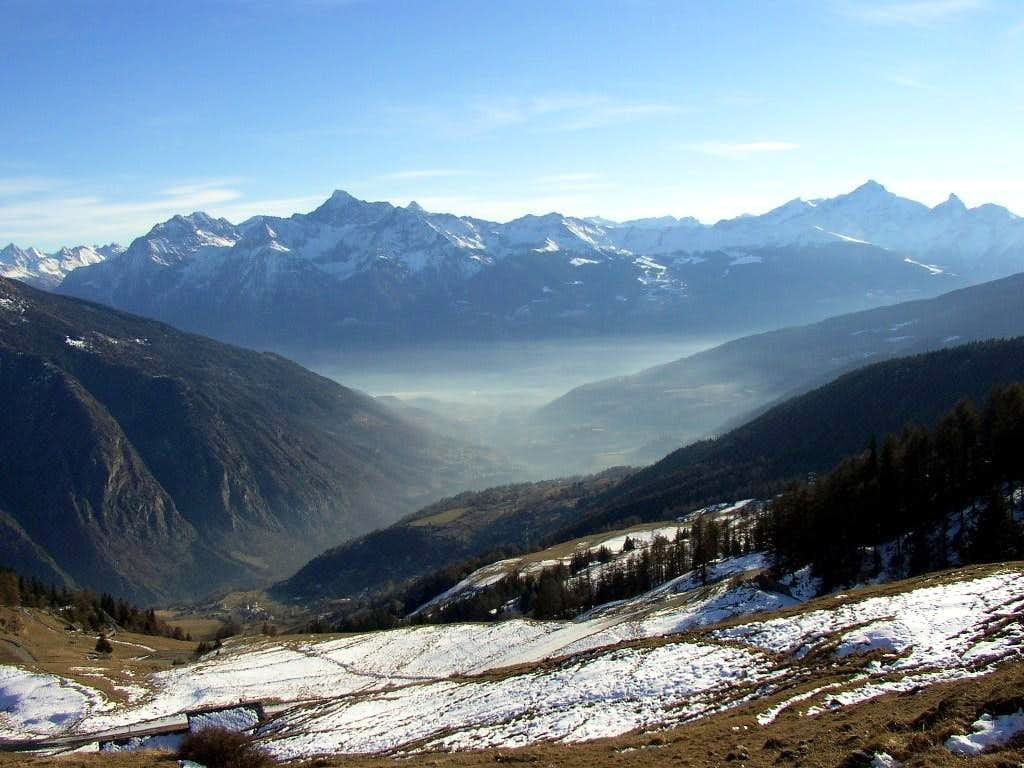 View from Posseil toward Aosta ( in the fog )