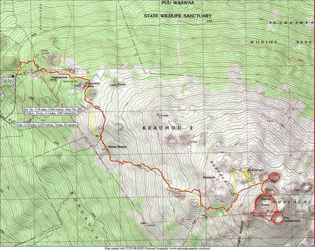 Map of a route to the summit.