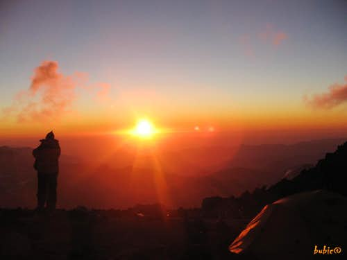 Aconcagua-sunset from Camp Berlin