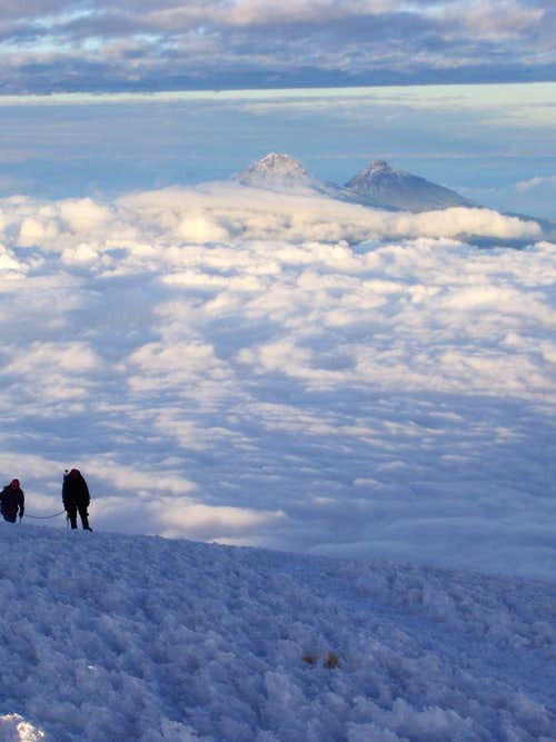 Climbers approaching Cotopaxi Summit