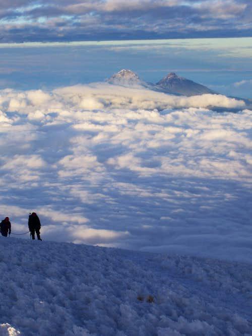 Climbers approaching Cotopaxi Summit