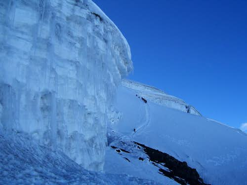 Ice wall and climbers