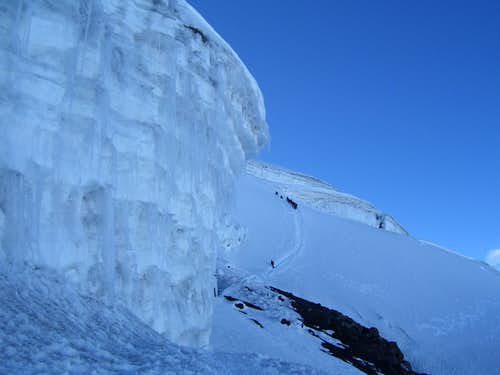 Ice wall and climbers