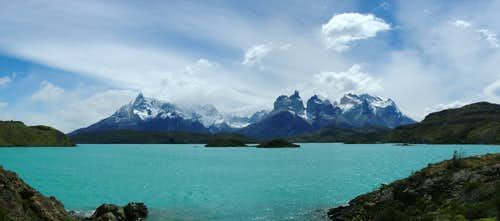 """Cerro Paine Grande"" (left under clouds) and ""Los Cuernos del Paine"" (to the right)"