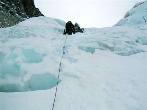 Leading up the ice cliff