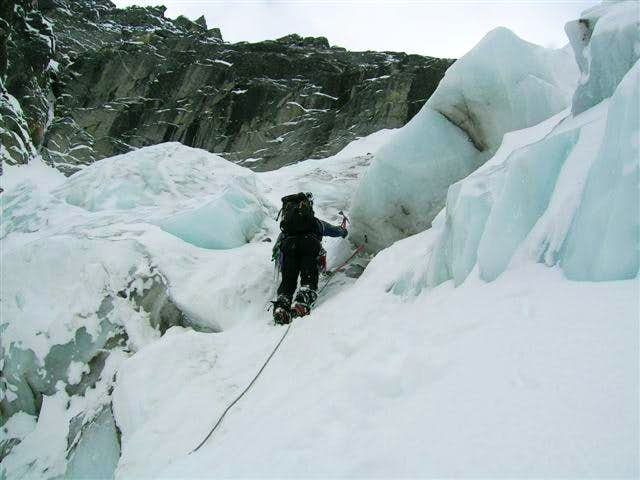 More ice cliff climbing