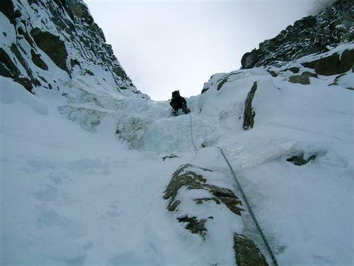 Leading up the couloir